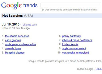 The Obama Deception tops Google Trends on July 16, 2010
