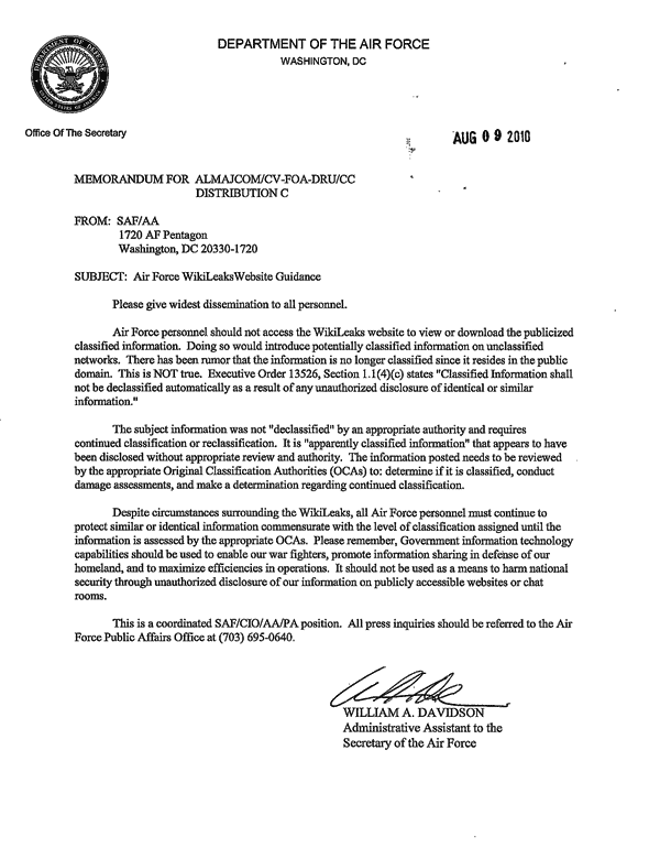 Air force issues memo warning soldiers employees not to for Air force mfr template