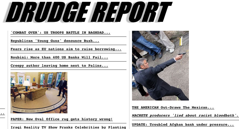 Drudge Report covers Machete lies