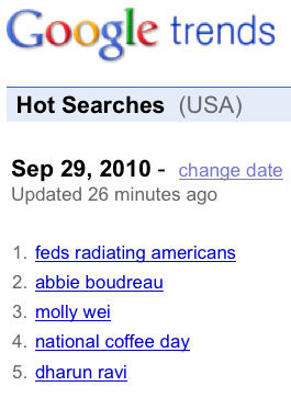 'Feds Radiating Americans' Becomes Number 1 Google Trend  FRA