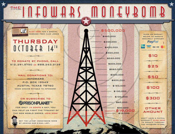 Alex Jones Announces Launch of Moneybomb moneybomb
