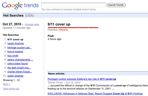 """9/11 Cover up"" #1 Search Term on Google  27coverup 911"