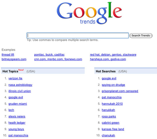 Three search terms (Google Evil, Spying on Drudge & PrisonPlanet.com Censored' have all peaked on Google's Trends list for December 1, 2010.