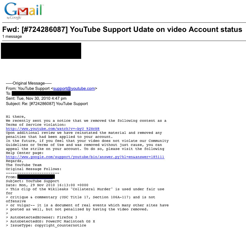 UPDATE: You Tube Restores Banned Video After Media Storm  01yt restore