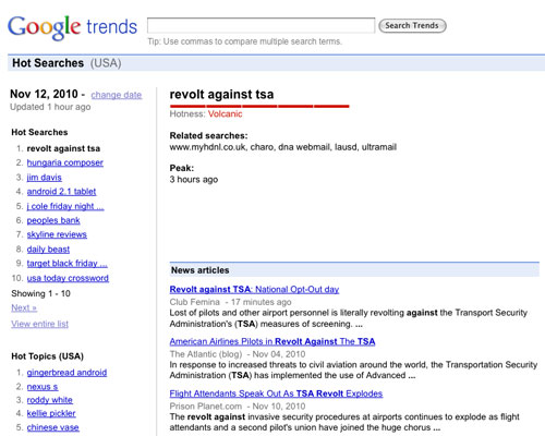 'Revolt Against TSA' hits #1 on Google Trends, November 12, 2010
