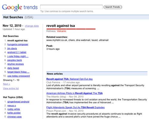 'Revolt Against TSA' hits #1 on Google Trends, November 12, 2010