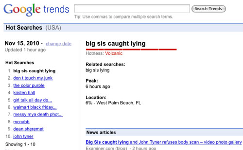 'Big Sis Caught Lying' hits #1 on Google Trends, November 15, 2010