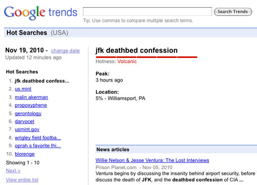 'JFK deathbed confession' hits #1 on Google Trends, November 19, 2010