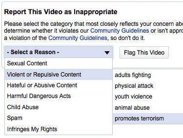 YouTube Allows Users to Flag Content as Terror Promotion reportthis