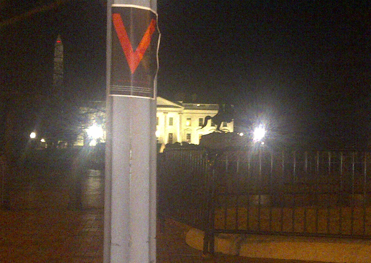 V for Victory flyers appear at White House
