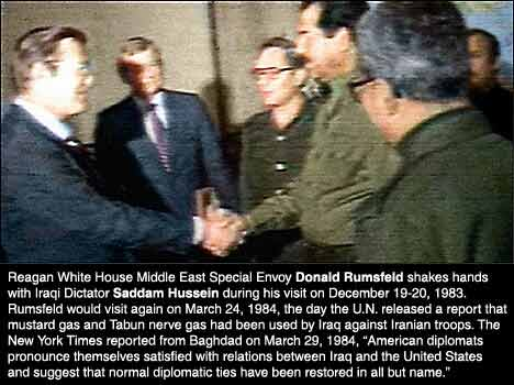 Donald Rumsfeld meets Saddam Hussein