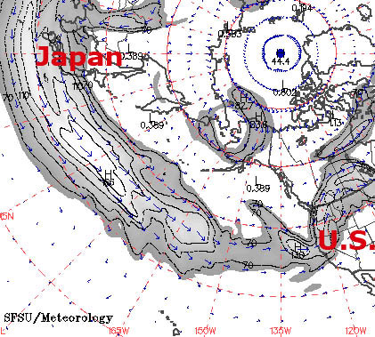 Map Of Jet Stream Flowing From Japan To West Coast Of U S