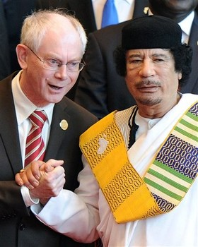 EU head Van Rompuy holding hands with Col. Gaddafi in Dec. 2010