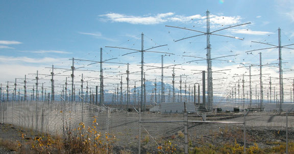 HAARP antenna array in Gakona, Alaska. Photo credit Michael Kleiman, Air Force, Source: Wikimedia Commons