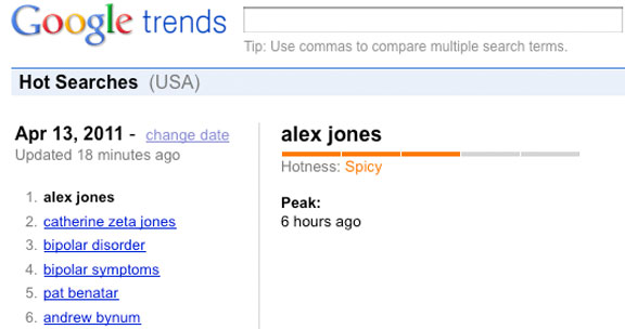 'Alex Jones' number 1 Google Trend, Wednesday April 13, 2011.