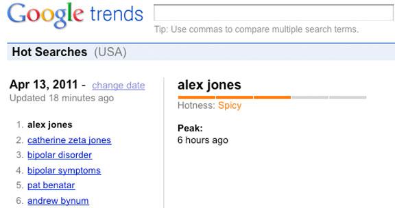'Alex Jones' number 1 Google Trend, Wednesday April 13, 2011.