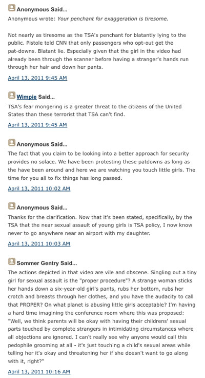 Blog comments on TSA's 'Screening of 6 year-old at MSY'