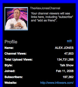 TheAlexJonesChannel demoted in channel view rankings