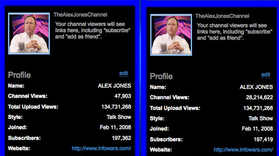 Update: You Tube Restores Alex Jones' View Count