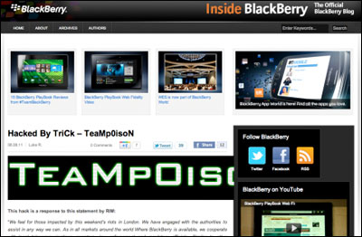 BlackBerry Website Hacked as Company Pledges to Help Cops Find Brit Rioters blackberrywebsite