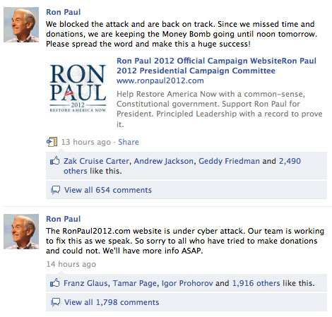 Message on Ron Paul's facebook acknowledges hack attack.