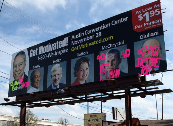 War Criminals and 9/11 Opportunist Exposed on Vandalized Billboard austinbillboard