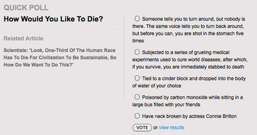 Satire Article Quips At Least 2 Billion Must Die to Save Earth onion death poll
