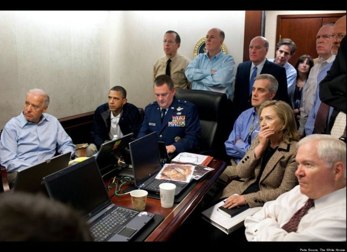 Obama/Bin Laden 2012: Re Elect the Stoic, Heroic Killer Situation Room phony bin laden raid
