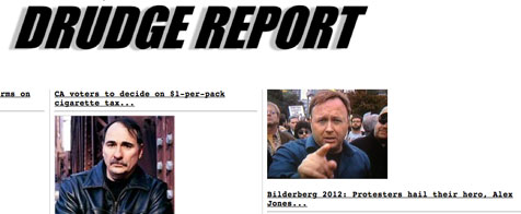 Drudge Report: Bilderberg 2012 protesters hail their hero Alex Jones