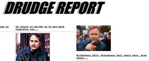 Drudge Report: Bilderberg 2012 protesters hail their hero Alex Jones
