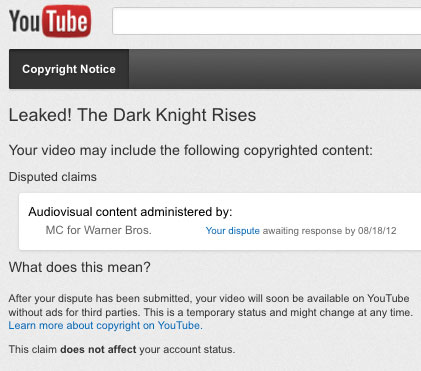 Warner Bros. Censors Review Critical of Dark Knight Rises Just Before Release youtube dispute dark knight restored