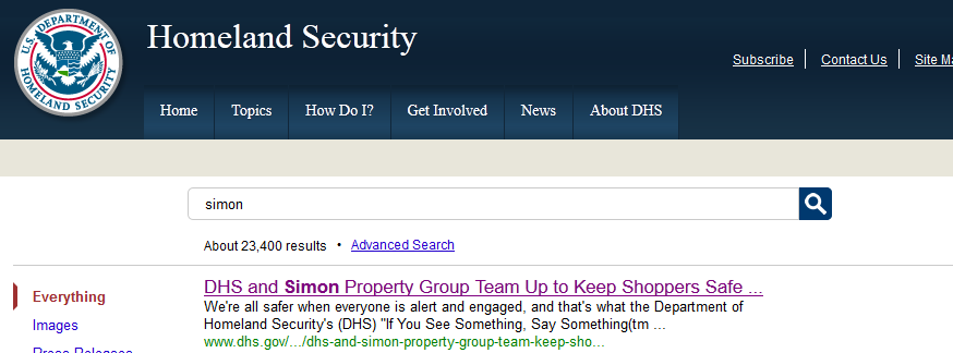 "DHS ""See Something, Say Something"" Campaign Headed For A Mall Near You dhsscreenshot"