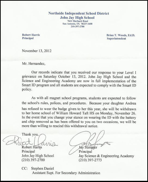 Student Expelled for Refusing Location Tracking RFID Badge RFID Hernandez john jay letter