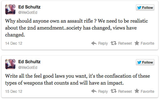 Ed Schultz: Confiscate Guns and Kill the Second Amendment edtweet