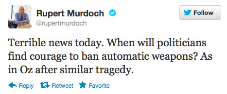 "Media Mogul Murdoch Calls for Outlawing ""Automatic Weapons"" murdochtweet"