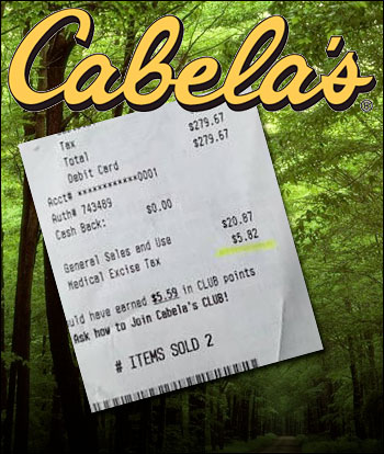 Prison medical excise tax on retail receipts for Cabela s fishing sale