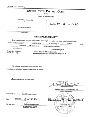 Government Issues Formal Complaint Against Dzhokhar Tsarnaev complaint2
