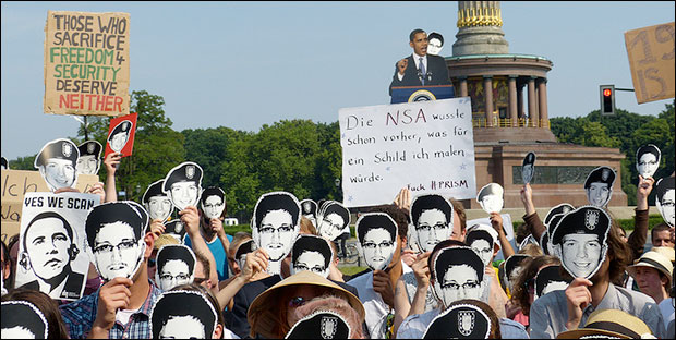 Obama demonstration by the German Pirate Party. Photo: Mike Herbst