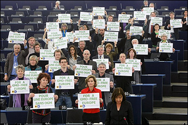European environmentalists demonstrate their opposition to GMOs in the European Parliament, photo via Wikimedia Commons