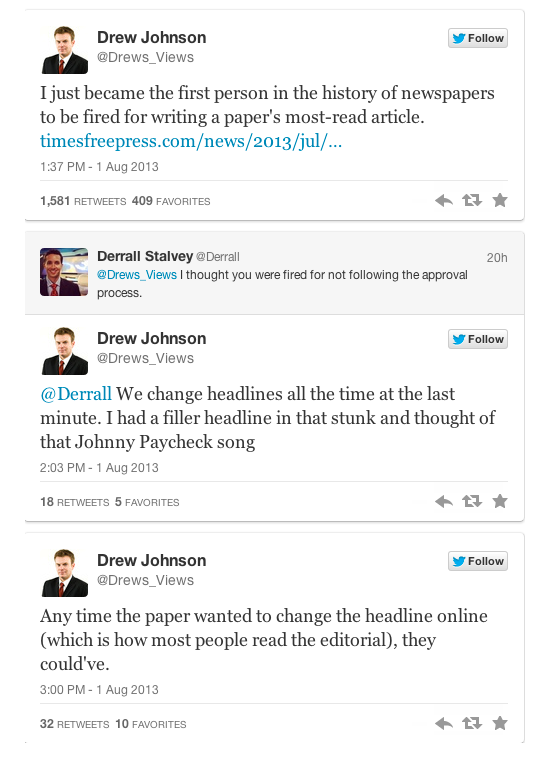 News Editor Fired for Headline Critical of Obama Screen Shot 2013 08 02 at 11.26.36 AM1