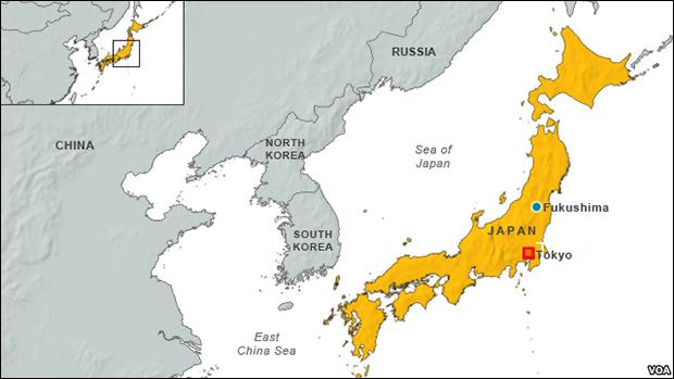 Map of Fukushima, Japan / Image Courtesy VOA News