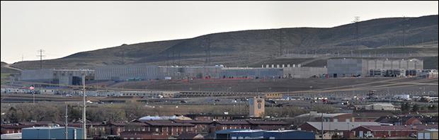 Panorama image of the Utah Data Center under construction. / via Wikimedia Commons