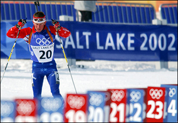Men's 10km sprint biathlon race during the 2002 Winter Olympic Games / via Wikimedia Commons