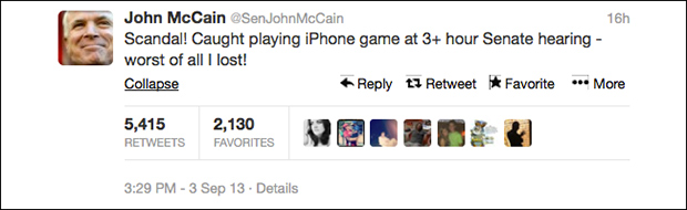 McCain Blames Boredom For Playing Poker At Senate War Meeting 090413mccaintwitter3
