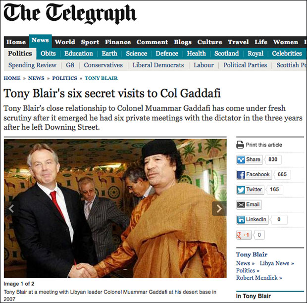 Former British Prime Minister Blair was flown to Libya twice at Gaddafi's expense before the Libyan leader was murdered.