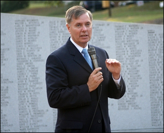 Senator Graham speaks at an event in Spartanburg honoring our veterans.