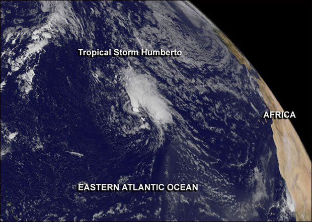 "This GOES-East image from Sept. 16 shows Tropical Storm Humberto, the Atlantic Ocean's second ""zombie storm"" of the year, spinning in the eastern Atlantic. Image Credit:  NASA GOES Project"