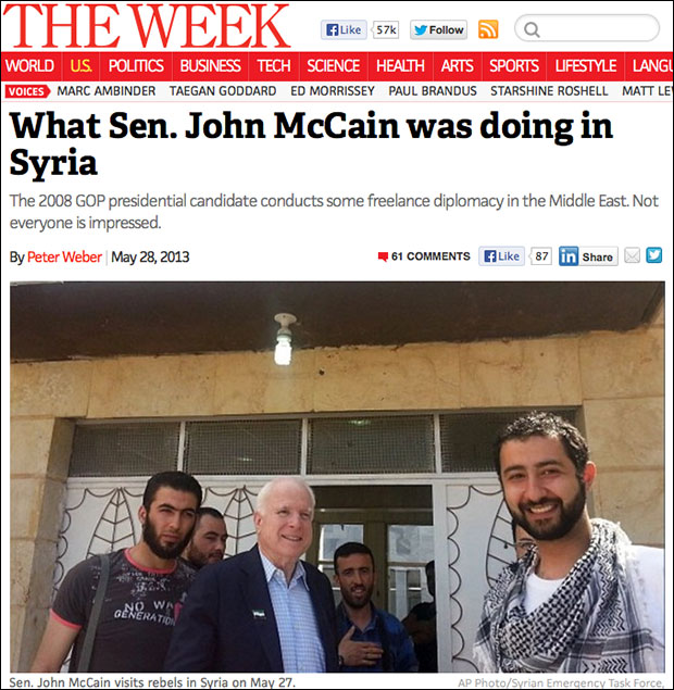 Senator John McCain meets with the CIA's Syrian terrorists.
