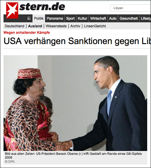 Obama meets Muammar Gaddafi a couple years before he had the Libyan leader murdered Mafia style.