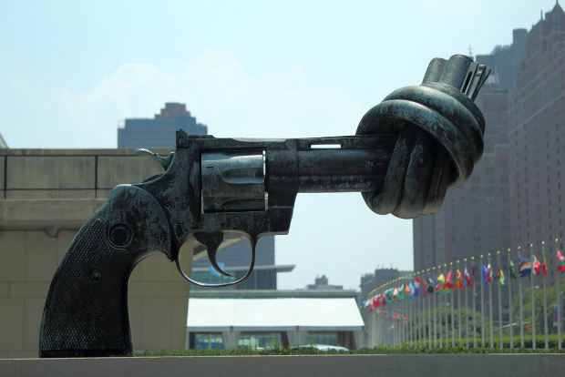 Anti-Gun Statue located at the United Nations building in NYC.